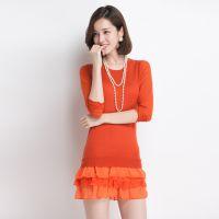 秋装新款 甜美中长款套头针织打底衫 修身显瘦纱袖纯色针织衫女装