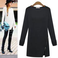 2014秋装新款欧韩版女装修身左侧斜拉链中长款长袖打底衫T恤