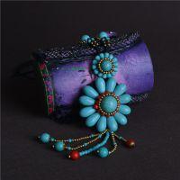 泰国风中长款 手工原创编织毛衣链批发 绿松石配饰 花朵多色项链
