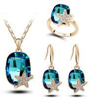 速卖通热销款水晶耳环+项链+戒指 韩版外贸 五角星时尚三件套装