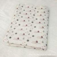 特价海洋系列小帆船亚麻布田园布料手工DIY桌布窗帘背景布