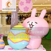 【上海升美】粉红可爱兔子玻璃钢雕塑 卡通动物模型定制 展览装饰摆件