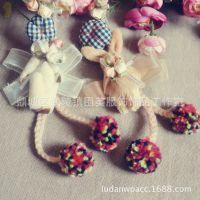 原创新款日系森女系手工布艺立体小熊项链吊坠可爱挂件毛衣链饰品