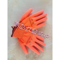 厂家批发非一次性防护用品防刺尼龙PVC桔纱发泡浸胶手套高品质