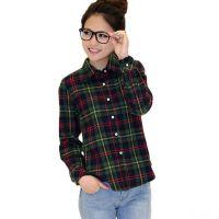 批发2016新款格子衬衫女士长袖纯棉磨毛大码韩版女装衬衣学院风
