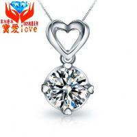 纯银925首饰 3克拉仿真钻吊坠 夸张韩国欧美项链 镀铂金纯银饰品
