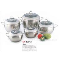 广东三A厨具 304不锈钢苹果胀形套装锅具 汤锅奶锅煎锅 电磁炉通用