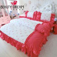 韩版家纺西瓜红纯棉婚庆双人四件套100%全棉公主风格床上用品套件