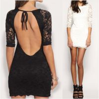 欧美爆款五分袖露背系带蕾丝连衣裙 ebay速卖通热卖爆款现货
