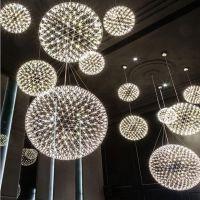 火花球现代工业风LED圆形吊灯球形吊灯火花球烟花灯花火吊灯创意个性餐厅客厅灯具厂