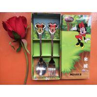 迪士尼餐具叉勺套装不锈钢餐具两件套创意家居促销礼品定制logo