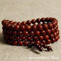 印度小叶紫檀金星108颗佛珠手链老料顺纹同料高密度男女念珠手串