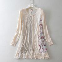外贸原单良品森女全棉碎花蕾丝拼接大摆长袖连衣裙E253 0.27
