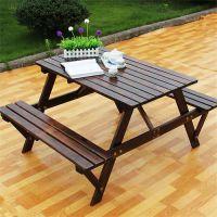 户外实木桌椅户外碳化桌椅 防腐木桌椅 花园庭院实木 餐桌椅 组合