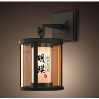中山现代中式壁灯 现代玻璃铁艺壁灯 圆形新中式壁灯批发厂家