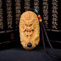 2015新款批发 黄杨木雕刻龍饼手把件 龍饼镶珠子挂件古玩一件代发
