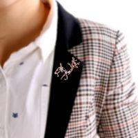 韩国时尚饰品 精美镂空梅花鹿胸针 闪亮水钻别针 4997