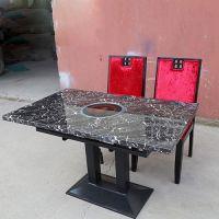厂价热卖 地中海风火锅桌 进口钢艺脚架电磁炉桌 茶餐厅火锅台