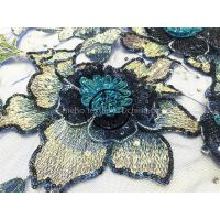 High Quality embroidered knitting article mesh lace 3D flower textile with sequins