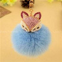 New Arrival Hot Selling Fox Fur Pearl Rhinestone Charm Ball Pearl Chain For Car Ornament With Key Ring