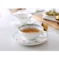 厂家高档欧式正品骨瓷杯咖啡杯 荷口陶瓷咖啡杯碟 花茶杯套装
