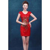 供应红色新娘旗袍批发、民族唐装、中国风改娘短旗袍、结婚旗袍、刺绣凤凰旗袍