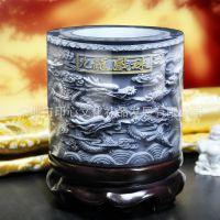九龙戏珠大直立笔筒 手工雕刻办公礼品 酒店家具装饰用品 可定制