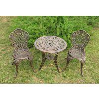 别墅铸铝花园桌椅 户外 休闲家具 欧式铸铝竹编玫瑰三件