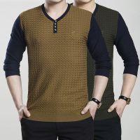 梦特娇 春秋季男装男士长袖T恤V领纯色羊毛针织打底衫 正品批发