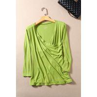 欧美女装外贸原单尾货批发微次深V领抽褶七分袖修身打底衫T恤F510