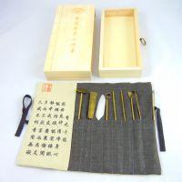 酉圆工坊厂家批发纯铜镀金隔火熏香香道工具 香勺,香铲等七件套