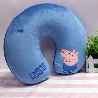 供应小猪图案U型枕头超柔植绒颈椎护颈枕 旅行保健靠枕可定制