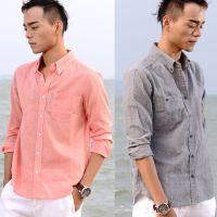 品牌原创灰色粉色棉麻衬衫 简约休闲修身 天然亚麻 男士上衣 潮男