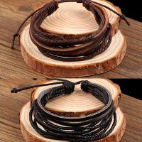 速卖通热卖 欧美复古纯手工编织皮革手链双色入 现货批发