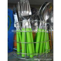 揭阳厂家供应彩盒装 2.00MM 麻轮抛光 塑料柄餐具24件套