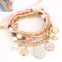 精致 韩版时尚 淑女佩戴OL玫瑰花多元素简洁多层细腻百搭气质手链