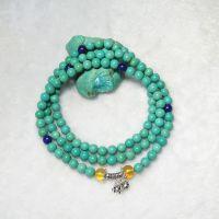 天然无优化绿松石男款女款手链108颗圆珠 挂件 配泰银 青金 琥珀