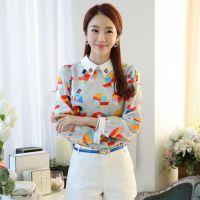 2015春季女装新款韩版修身印花娃娃领雪纺衫打底衫上衣潮