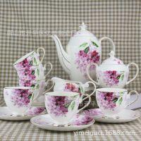 紫罗兰15头骨瓷咖啡具高档陶瓷咖啡杯碟创意礼品套装现货批发简约