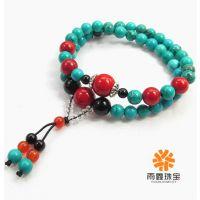 天然宝石批发 新疆绿松石 54粒绿松佛珠手链  时尚   韩国手串