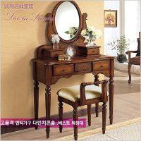 特价美式成套梳妆台化妆桌实木 带椅子镜子 外贸原单