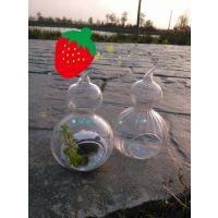 悬挂透明条纹玻璃花瓶创意葫芦花瓶 手工花器时尚家居饰品批发