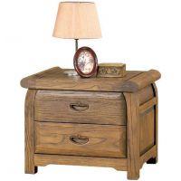 榕华家居卧室家具 榆木床头柜 实木带抽屉床边柜