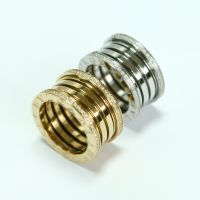 速卖通外贸货源出口混批  宝记宽版螺纹弹簧镶钻 不锈钢戒指