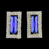EZ0072  欧美时尚镶钻长方形水晶耳环 外贸出口耳饰速卖通爆款