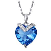 泰坦尼克号海洋之心925纯银项链女 爱心形蓝水晶吊坠欧美时尚礼物