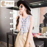 夏季女装条纹披肩假两件上衣女夏清凉学生雪纺衫女士t恤SH98097