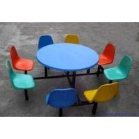 大量供应玻璃钢8人位圆桌配月机压靠背餐桌椅剑桥体育可定制