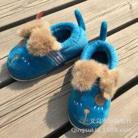 秋冬可爱儿童保暖棉鞋加厚室内外家居棉拖鞋包跟大人情侣亲子猫咪