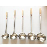 厂家直销 大师厨具不锈钢烹饪勺 木柄汤勺#3号 现货批发